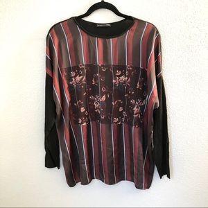 Zara Striped Silk Top